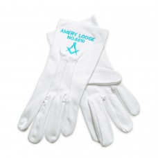 Pack of 12 Masonic Gloves with Personalised with Lodge Name & Number