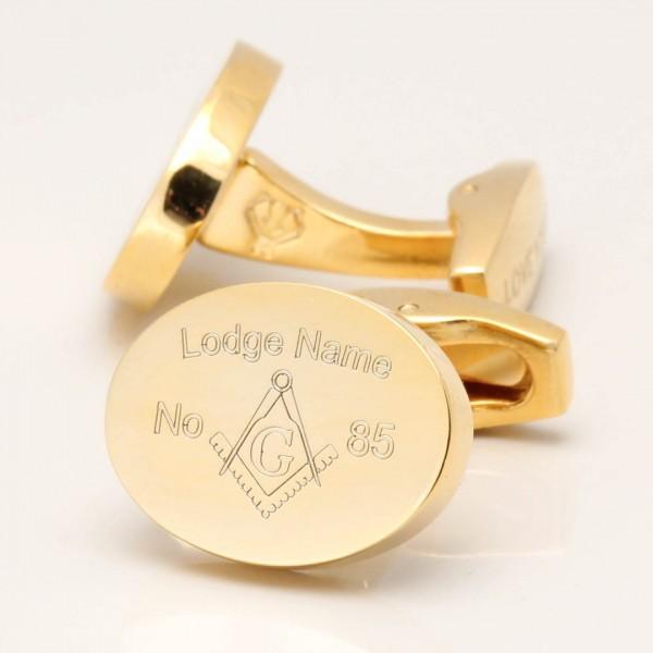 Gold Personalised Engraved Masonic Lodge Cufflinks