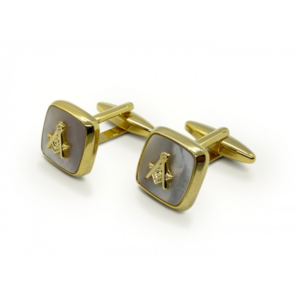 Masonic Mother of Pearl Embossed Sq & Compass Cufflinks