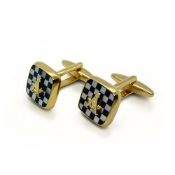 Masonic Onyx & MOP Pavement Design Cufflinks