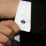 Silver Plated Blue Enamel Square and Compass Cufflinks