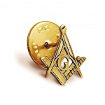Craft Sq & Compass Gold Masonic Badge with G