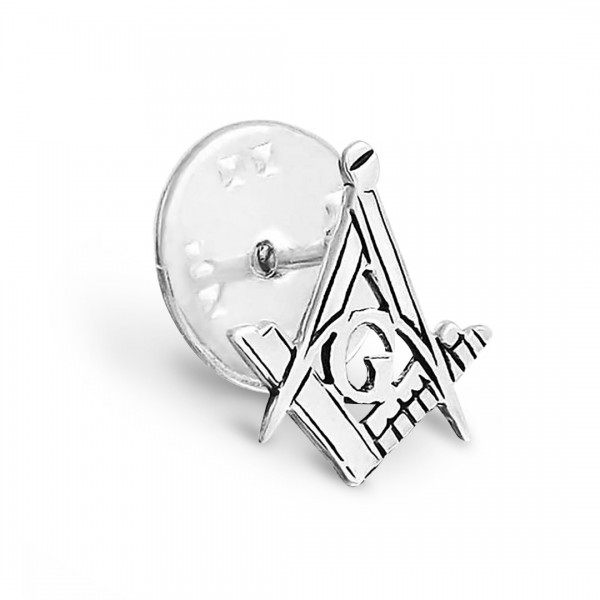 Craft Sq & Compass Silver Masonic Badge with G