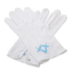White 100 % Cotton Masonic Gloves