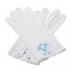 Pack of 12 Masonic Gloves with Personalised with Lodge Number