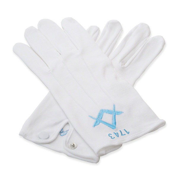 White 100% Cotton Masonic Gloves with Lodge Number